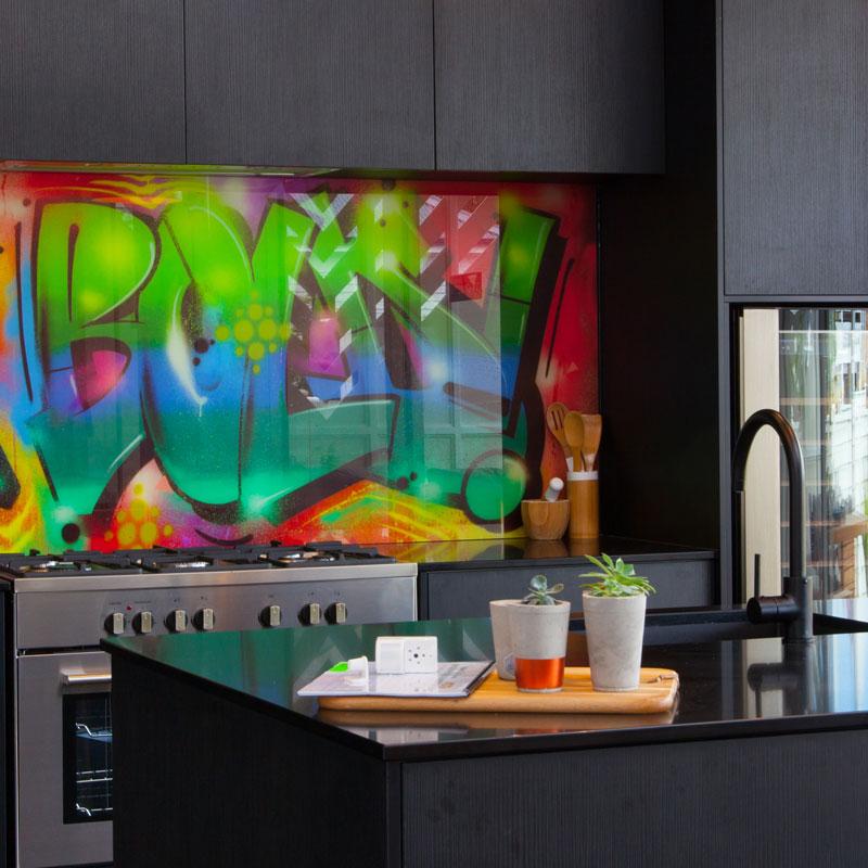Screen Printed Splashback - Otago Frameless Glass NZ